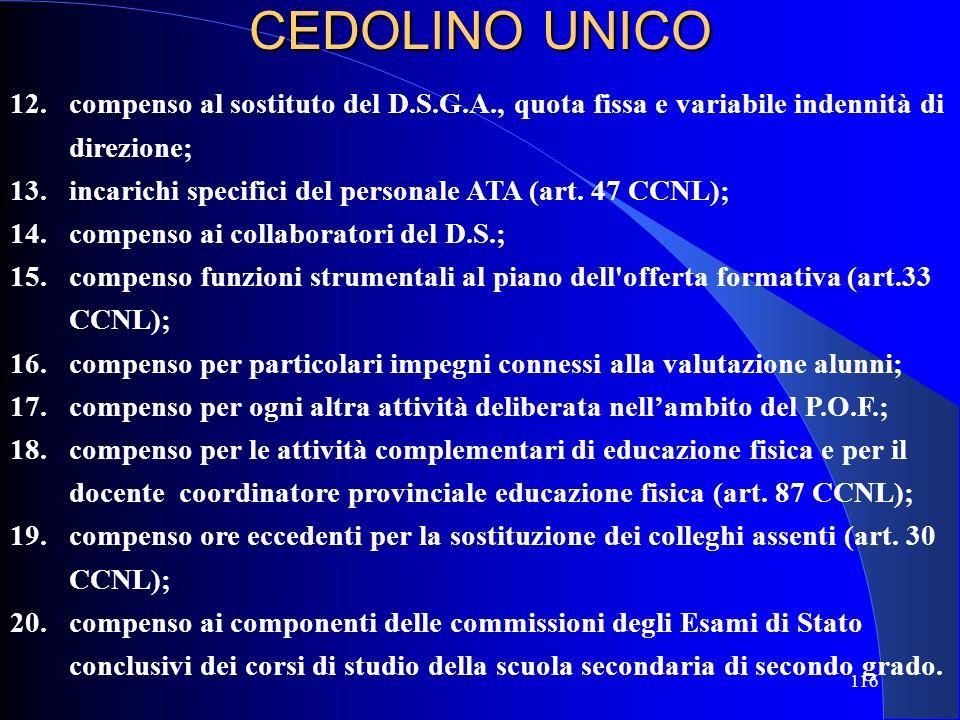 12. compenso al sostituto del D.S.G.A., quota fissa e variabile indennità di direzione; 13. incarichi specifici del personale ATA (art. 47 CCNL); 14.