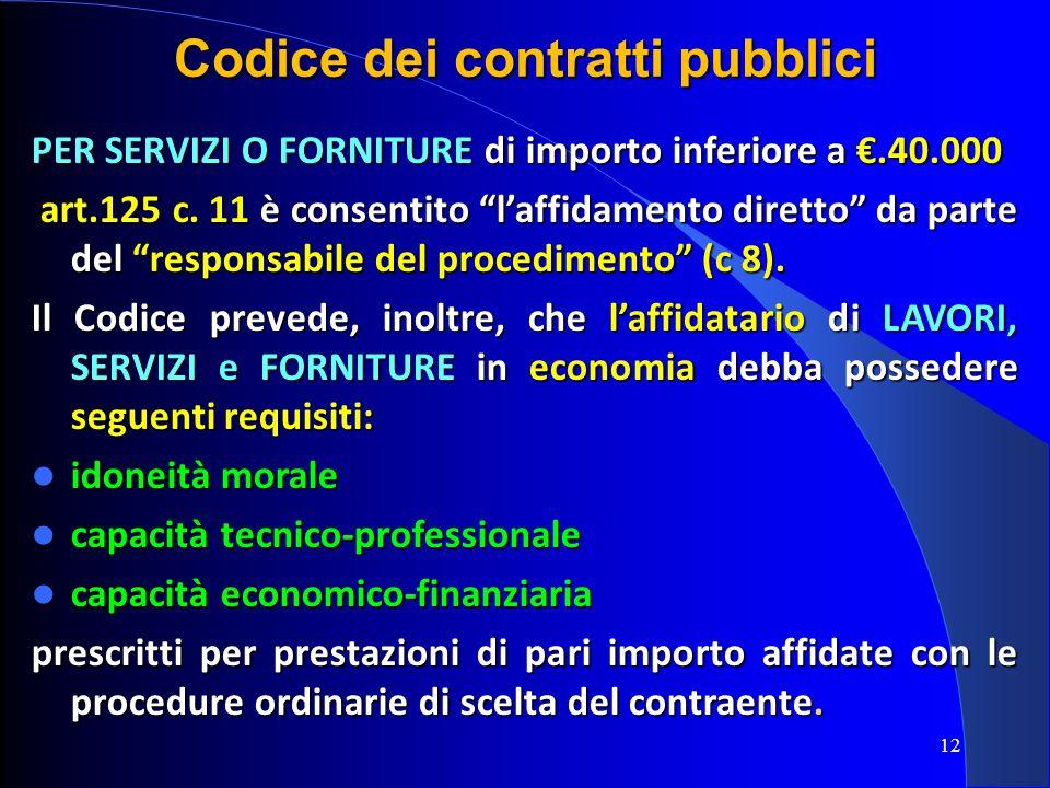 12 Codice dei contratti pubblici PER SERVIZI O FORNITURE di importo inferiore a.40.000 art.125 c. 11 è consentito laffidamento diretto da parte del re