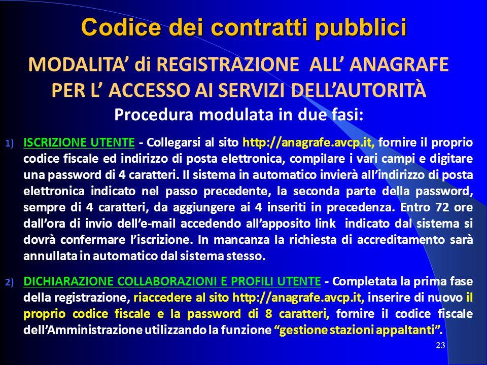 23 Codice dei contratti pubblici MODALITA di REGISTRAZIONE ALL ANAGRAFE PER L ACCESSO AI SERVIZI DELLAUTORITÀ Procedura modulata in due fasi: 1) ISCRI