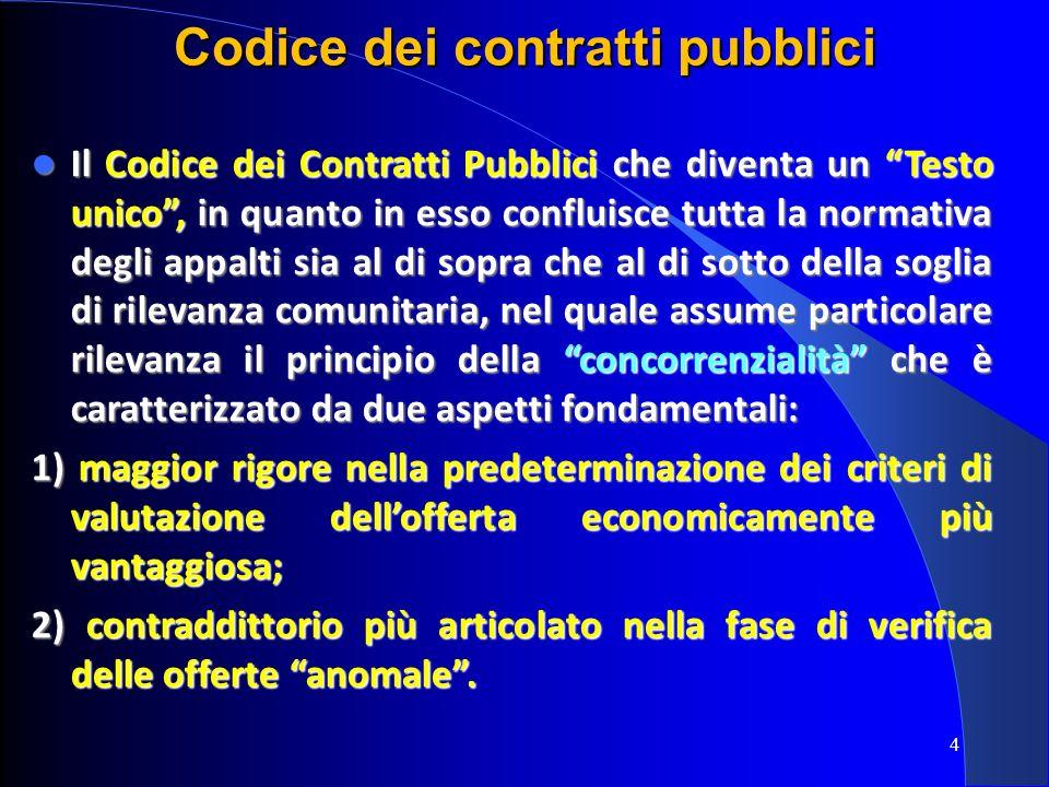 4 Codice dei contratti pubblici Il Codice dei Contratti Pubblici che diventa un Testo unico, in quanto in esso confluisce tutta la normativa degli app