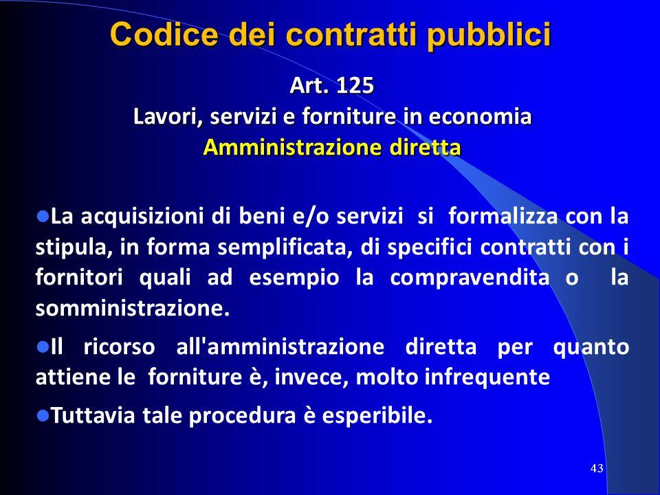 Art. 125 Lavori, servizi e forniture in economia Amministrazione diretta La acquisizioni di beni e/o servizi si formalizza con la stipula, in forma se