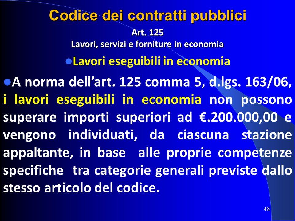 Art. 125 Lavori, servizi e forniture in economia Lavori eseguibili in economia A norma dellart. 125 comma 5, d.lgs. 163/06, i lavori eseguibili in eco