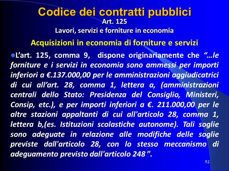 Art. 125 Lavori, servizi e forniture in economia Acquisizioni in economia di forniture e servizi Lart. 125, comma 9, dispone originariamente che …le f