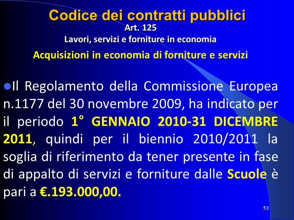 Art. 125 Lavori, servizi e forniture in economia Acquisizioni in economia di forniture e servizi Il Regolamento della Commissione Europea n.1177 del 3