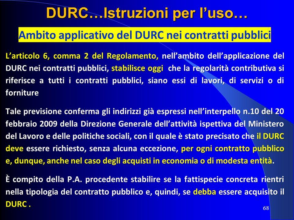 68 DURC…Istruzioni per luso…