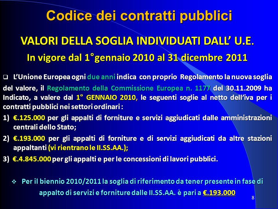 8 Codice dei contratti pubblici VALORI DELLA SOGLIA INDIVIDUATI DALL U.E. In vigore dal 1°gennaio 2010 al 31 dicembre 2011 LUnione Europea ogni due an