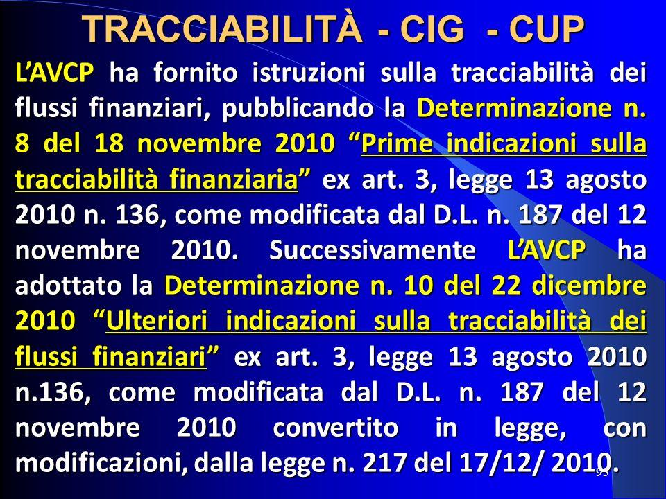 LAVCP ha fornito istruzioni sulla tracciabilità dei flussi finanziari, pubblicando la Determinazione n. 8 del 18 novembre 2010 Prime indicazioni sulla