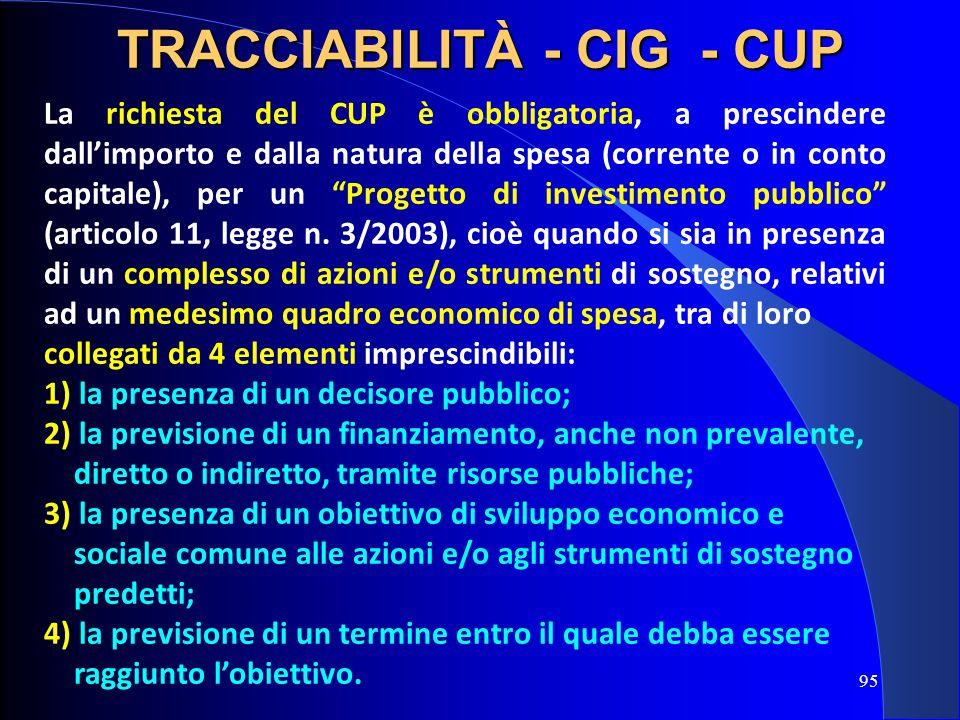 La richiesta del CUP è obbligatoria, a prescindere dallimporto e dalla natura della spesa (corrente o in conto capitale), per un Progetto di investime