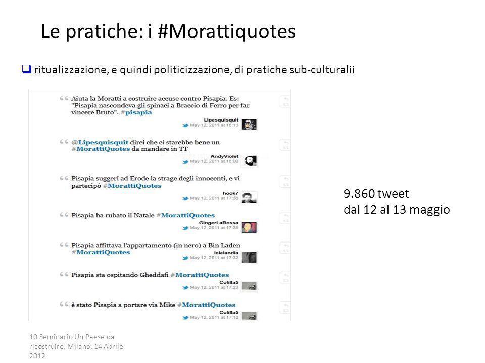 10 Seminario Un Paese da ricostruire, Milano, 14 Aprile 2012 La campagna partecipata Le pratiche: i #Morattiquotes 9.860 tweet dal 12 al 13 maggio rit