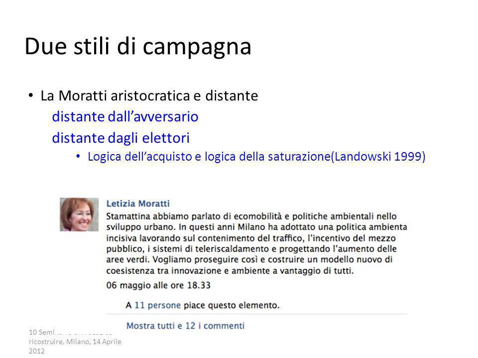 10 Seminario Un Paese da ricostruire, Milano, 14 Aprile 2012 La campagna partecipata Due stili di campagna La Moratti aristocratica e distante distant