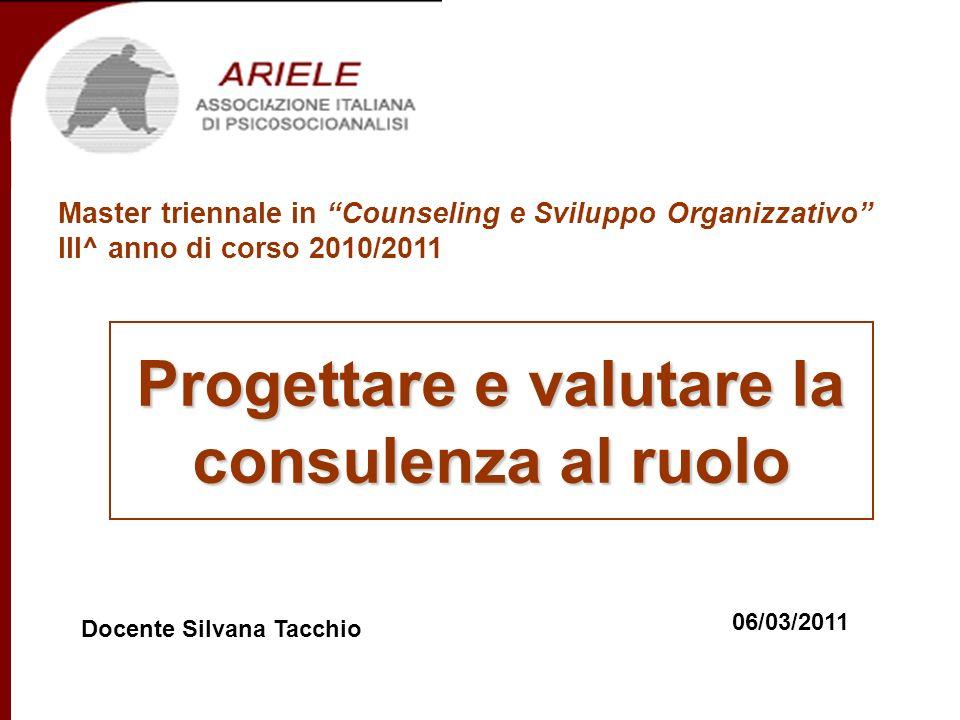 Master in Counseling e Sviluppo Organizzativo III^ anno di corso Docenti Progettare e valutare la consulenza al ruolo 6.