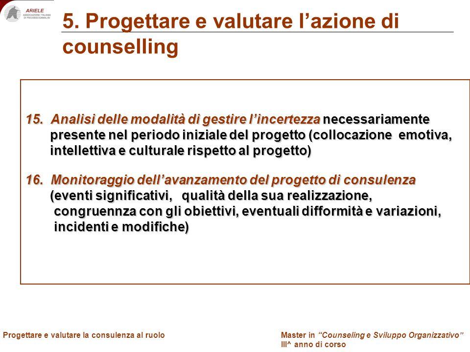 Master in Counseling e Sviluppo Organizzativo III^ anno di corso Docenti Progettare e valutare la consulenza al ruolo 5. Progettare e valutare lazione