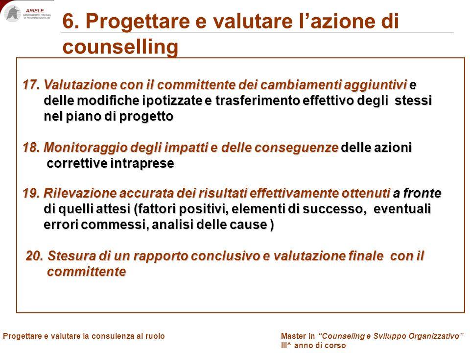 Master in Counseling e Sviluppo Organizzativo III^ anno di corso Docenti Progettare e valutare la consulenza al ruolo 6. Progettare e valutare lazione