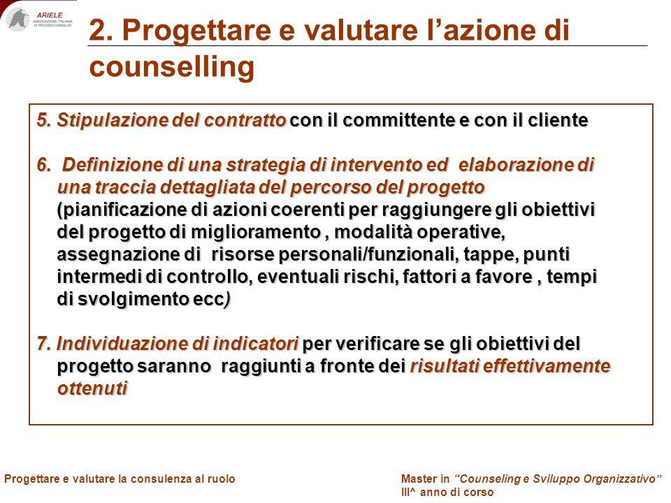 Master in Counseling e Sviluppo Organizzativo III^ anno di corso Docenti Progettare e valutare la consulenza al ruolo 2. Progettare e valutare lazione