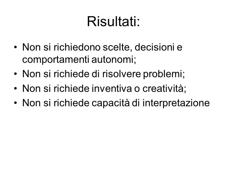 Risultati: Non si richiedono scelte, decisioni e comportamenti autonomi; Non si richiede di risolvere problemi; Non si richiede inventiva o creatività