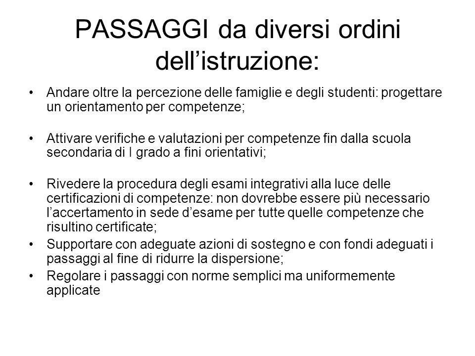 PASSAGGI da diversi ordini dellistruzione: Andare oltre la percezione delle famiglie e degli studenti: progettare un orientamento per competenze; Atti