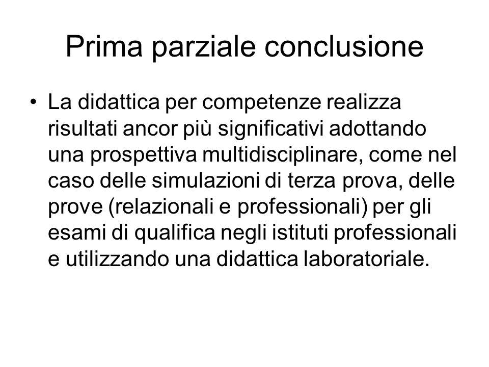 Prima parziale conclusione La didattica per competenze realizza risultati ancor più significativi adottando una prospettiva multidisciplinare, come ne
