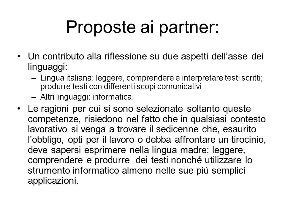 Proposte ai partner: Un contributo alla riflessione su due aspetti dellasse dei linguaggi: –Lingua italiana: leggere, comprendere e interpretare testi
