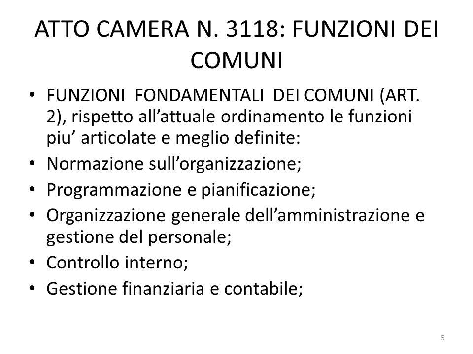 ATTO CAMERA N. 3118: FUNZIONI DEI COMUNI FUNZIONI FONDAMENTALI DEI COMUNI (ART. 2), rispetto allattuale ordinamento le funzioni piu articolate e megli