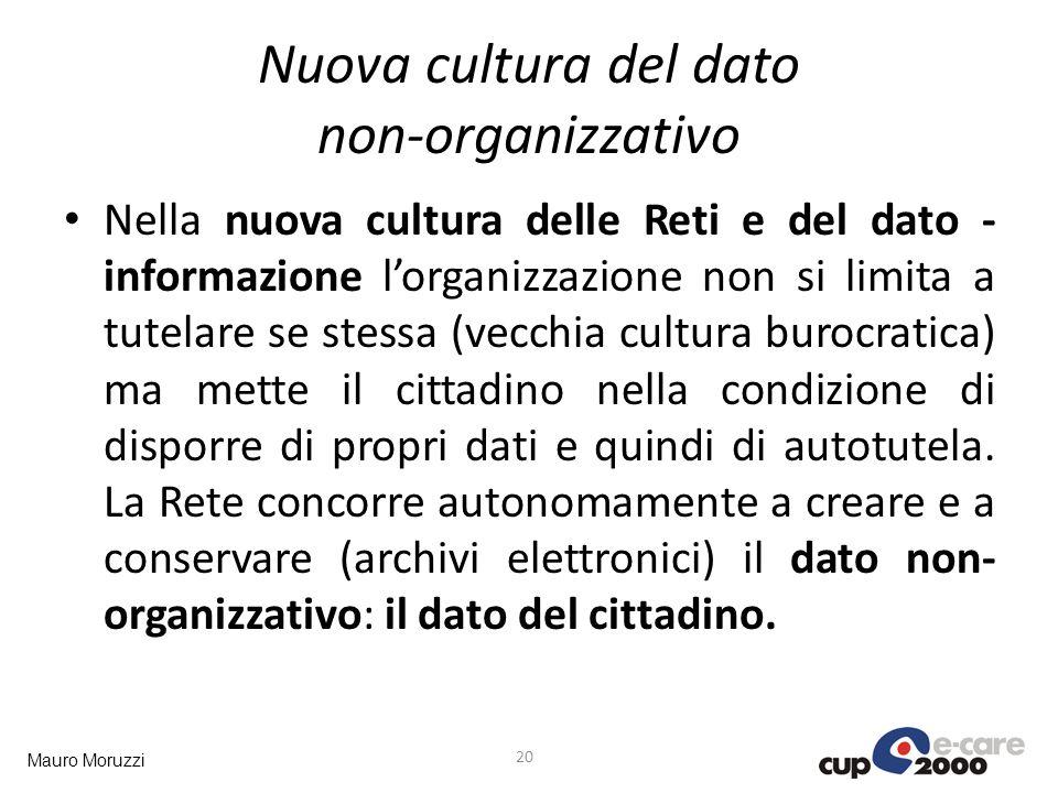 Mauro Moruzzi Nuova cultura del dato non-organizzativo Nella nuova cultura delle Reti e del dato - informazione lorganizzazione non si limita a tutela