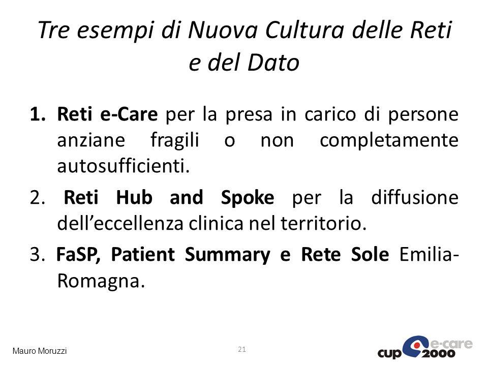 Mauro Moruzzi Tre esempi di Nuova Cultura delle Reti e del Dato 1.Reti e-Care per la presa in carico di persone anziane fragili o non completamente au