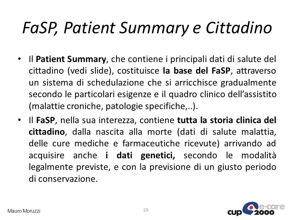 Mauro Moruzzi FaSP, Patient Summary e Cittadino 29 Il Patient Summary, che contiene i principali dati di salute del cittadino (vedi slide), costituisc