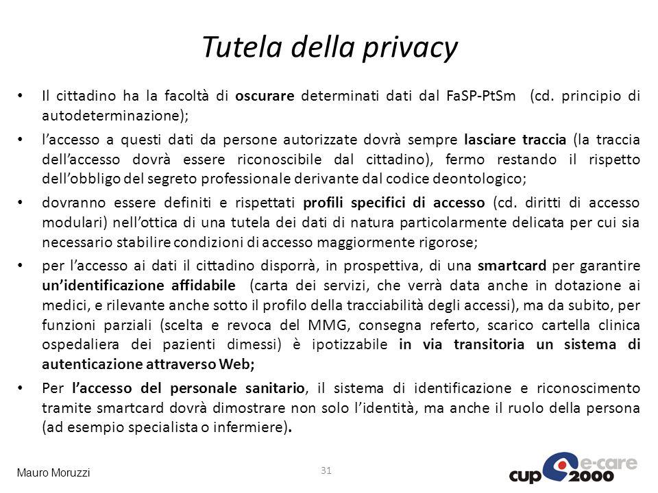 Mauro Moruzzi Tutela della privacy 31 Il cittadino ha la facoltà di oscurare determinati dati dal FaSP-PtSm (cd. principio di autodeterminazione); lac