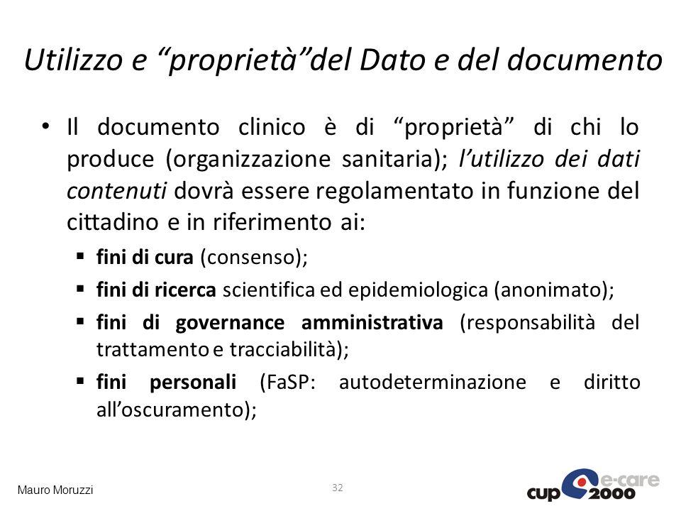 Mauro Moruzzi Utilizzo e proprietàdel Dato e del documento 32 Il documento clinico è di proprietà di chi lo produce (organizzazione sanitaria); lutili