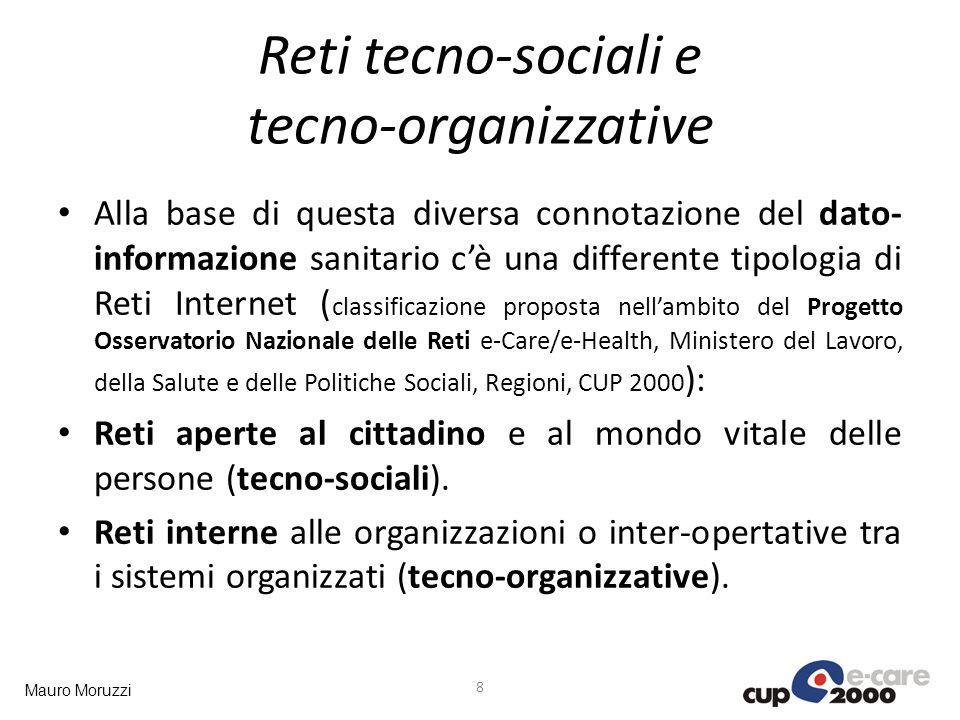 Mauro Moruzzi Reti tecno-sociali e tecno-organizzative Alla base di questa diversa connotazione del dato- informazione sanitario cè una differente tip