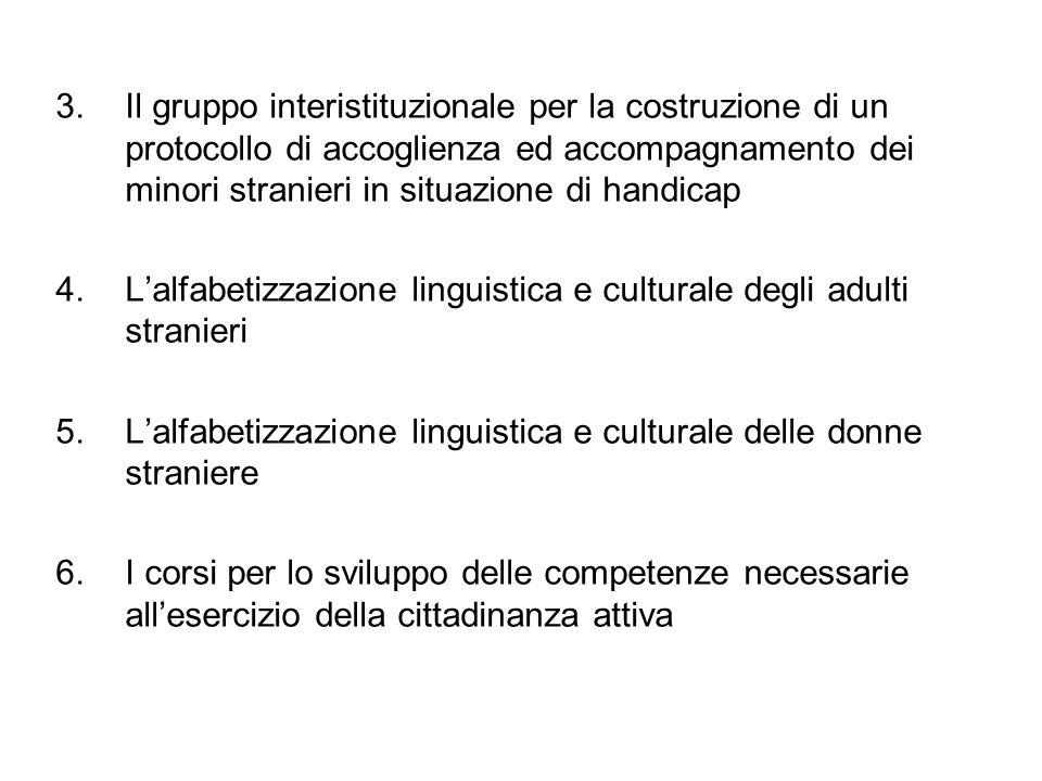 3.Il gruppo interistituzionale per la costruzione di un protocollo di accoglienza ed accompagnamento dei minori stranieri in situazione di handicap 4.