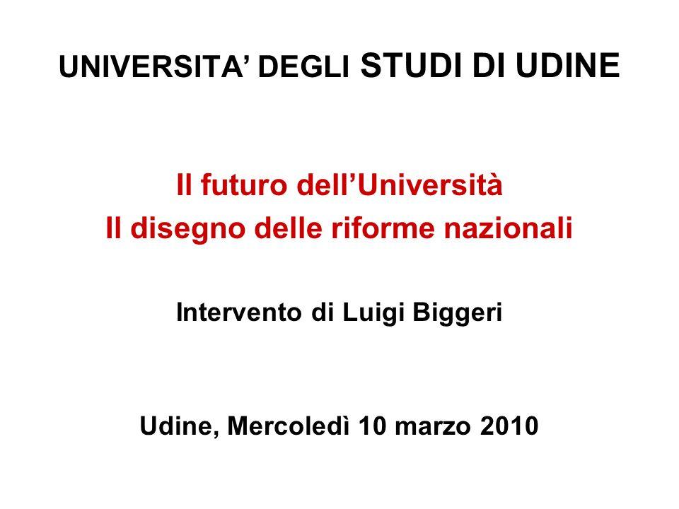 UNIVERSITA DEGLI STUDI DI UDINE Il futuro dellUniversità Il disegno delle riforme nazionali Intervento di Luigi Biggeri Udine, Mercoledì 10 marzo 2010