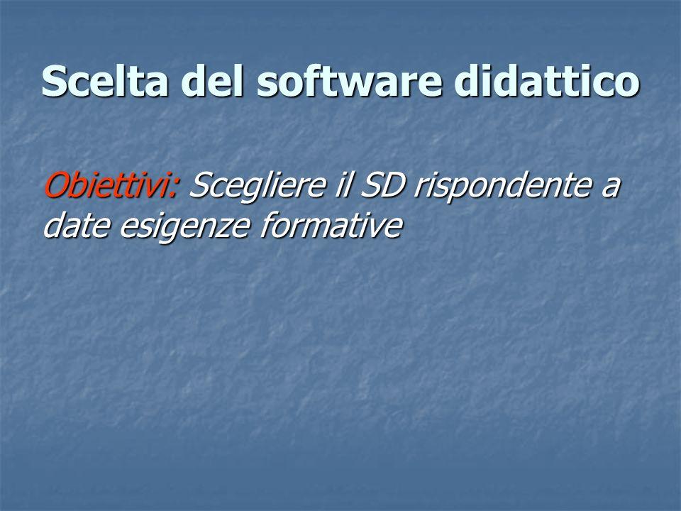 Obiettivi: Scegliere il SD rispondente a date esigenze formative Scelta del software didattico