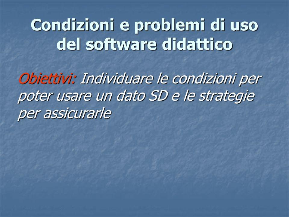 Obiettivi: Individuare le condizioni per poter usare un dato SD e le strategie per assicurarle Condizioni e problemi di uso del software didattico