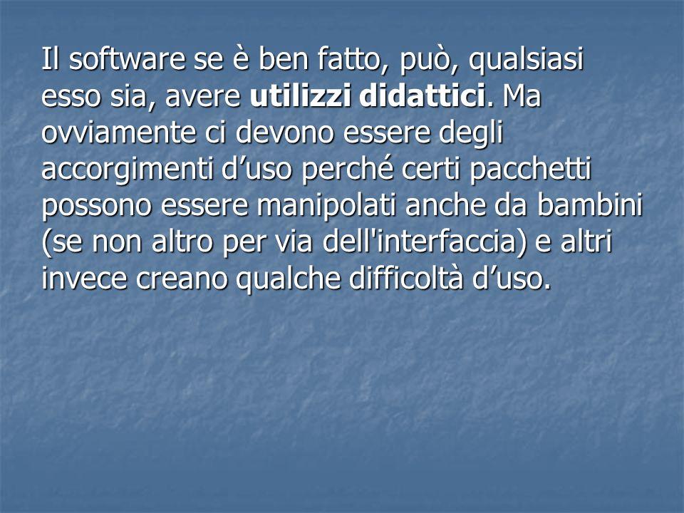 Il software se è ben fatto, può, qualsiasi esso sia, avere utilizzi didattici. Ma ovviamente ci devono essere degli accorgimenti duso perché certi pac