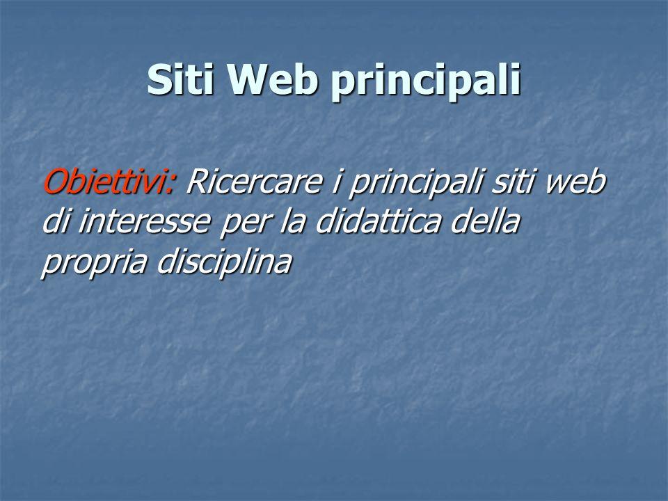 Obiettivi: Ricercare i principali siti web di interesse per la didattica della propria disciplina Siti Web principali