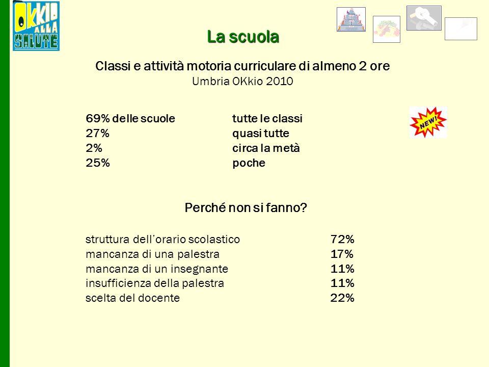 69% delle scuoletutte le classi 27%quasi tutte 2% circa la metà 25% poche Perché non si fanno? struttura dellorario scolastico 72% mancanza di una pal