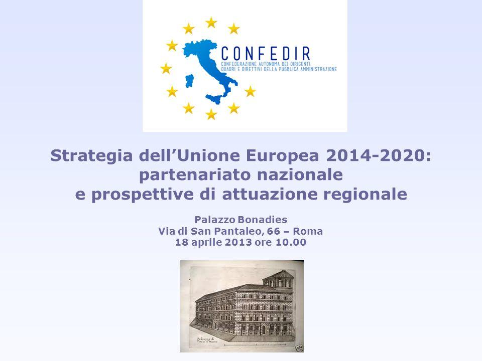 Strategia dellUnione Europea 2014-2020: partenariato nazionale e prospettive di attuazione regionale Palazzo Bonadies Via di San Pantaleo, 66 – Roma 1
