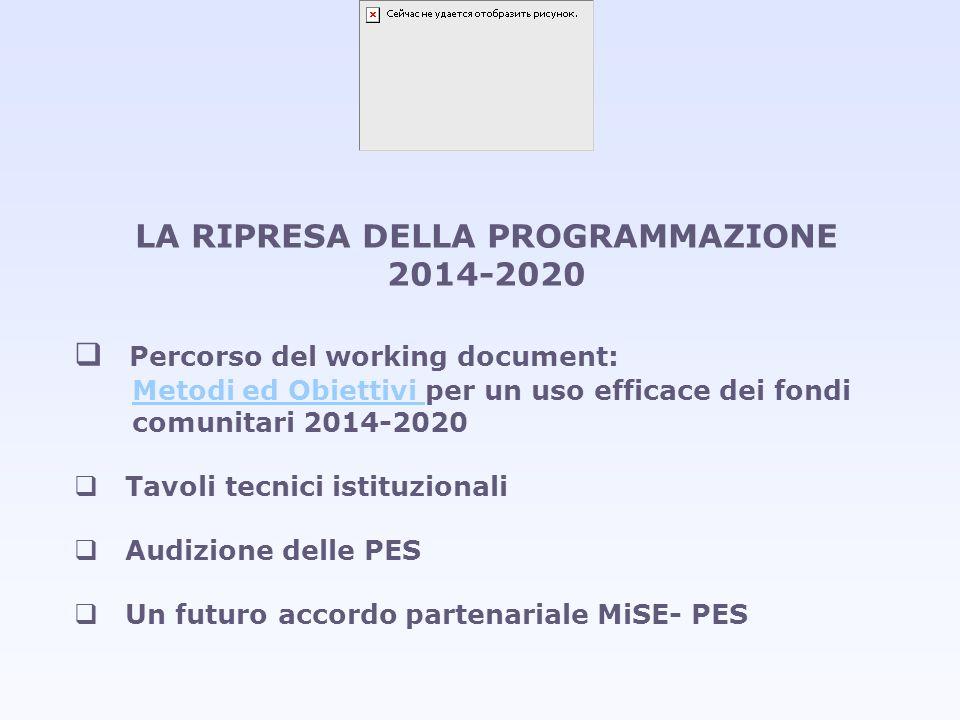 LA RIPRESA DELLA PROGRAMMAZIONE 2014-2020 Percorso del working document: Metodi ed Obiettivi Metodi ed Obiettivi per un uso efficace dei fondi comunit