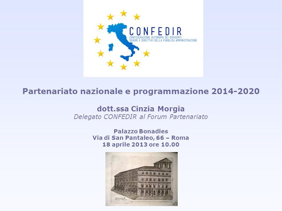 Partenariato nazionale e programmazione 2014-2020 dott.ssa Cinzia Morgia Delegato CONFEDIR al Forum Partenariato Palazzo Bonadies Via di San Pantaleo,