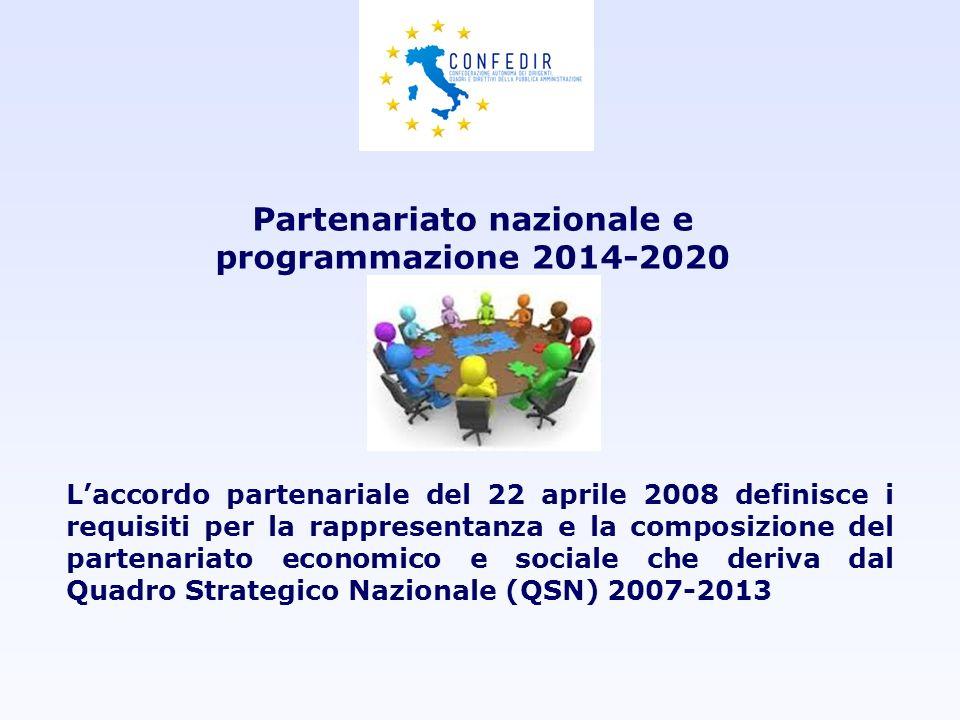 Partenariato nazionale e programmazione 2014-2020 Laccordo partenariale del 22 aprile 2008 definisce i requisiti per la rappresentanza e la composizio