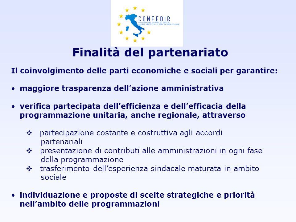 Finalità del partenariato Il coinvolgimento delle parti economiche e sociali per garantire: maggiore trasparenza dellazione amministrativa verifica pa