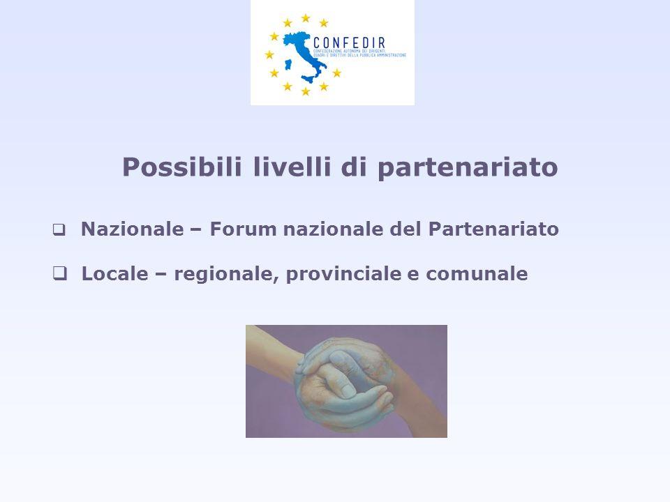 Possibili livelli di partenariato Nazionale – Forum nazionale del Partenariato Locale – regionale, provinciale e comunale