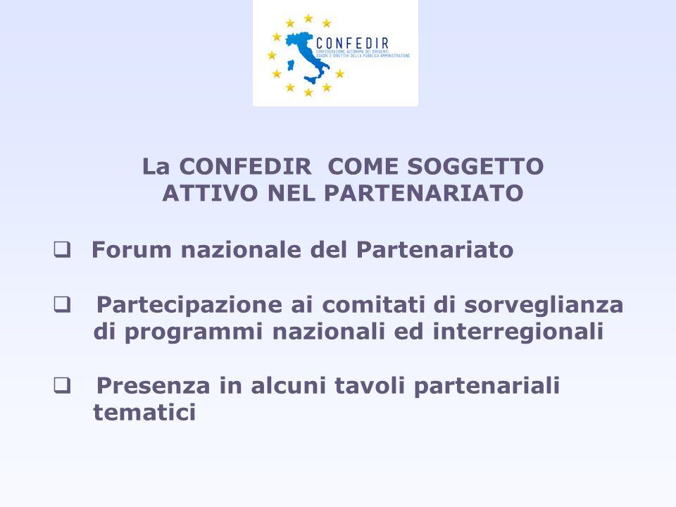 La CONFEDIR COME SOGGETTO ATTIVO NEL PARTENARIATO Forum nazionale del Partenariato Partecipazione ai comitati di sorveglianza di programmi nazionali e