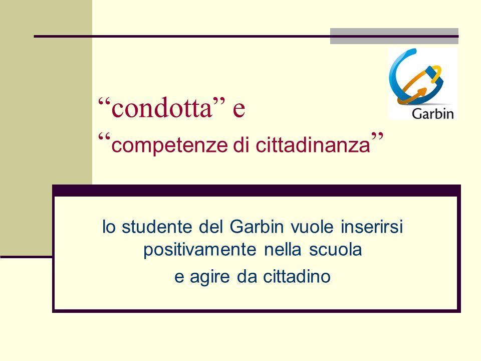 condotta e competenze di cittadinanza lo studente del Garbin vuole inserirsi positivamente nella scuola e agire da cittadino