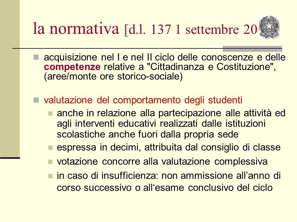 la normativa [d.l. 137 1 settembre 2008] acquisizione nel I e nel II ciclo delle conoscenze e delle competenze relative a