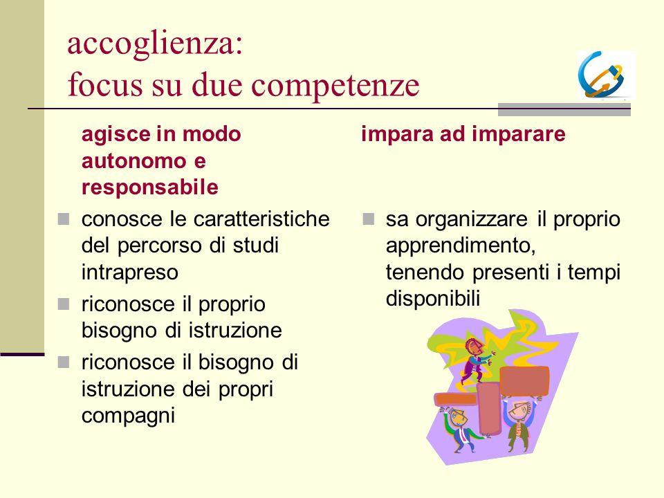 accoglienza: focus su due competenze agisce in modo autonomo e responsabile conosce le caratteristiche del percorso di studi intrapreso riconosce il p