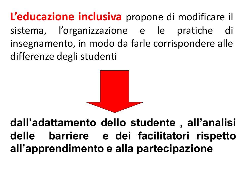 Leducazione inclusiva propone di modificare il sistema, lorganizzazione e le pratiche di insegnamento, in modo da farle corrispondere alle differenze