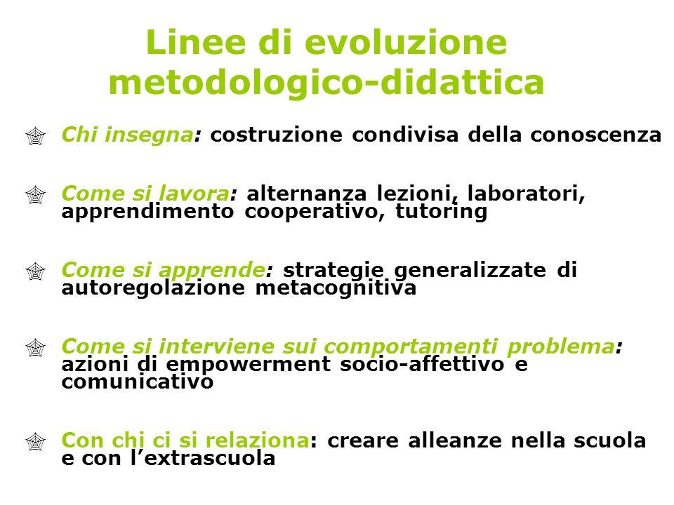 Linee di evoluzione metodologico-didattica Chi insegna: costruzione condivisa della conoscenza Come si lavora: alternanza lezioni, laboratori, apprend
