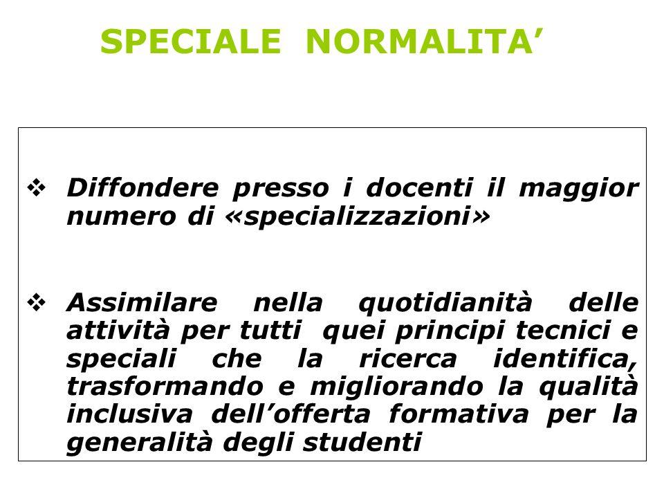 SPECIALE NORMALITA Diffondere presso i docenti il maggior numero di «specializzazioni» Assimilare nella quotidianità delle attività per tutti quei pri