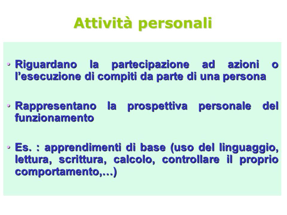 Attività personali Riguardano la partecipazione ad azioni o lesecuzione di compiti da parte di una personaRiguardano la partecipazione ad azioni o les